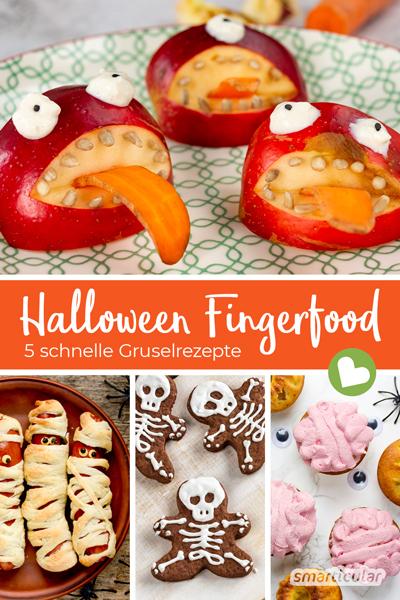 Hier kommen fünf schnelle Halloween-Rezepte: Fingerfood in herzhaften, süßen und auch gesunden Varianten hat für jeden Gruselgeschmack etwas zu bieten.