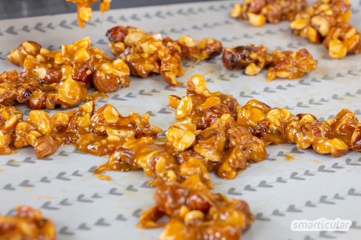 Statt ein Fertigprodukt zu kaufen, lässt sich Krokant selber machen. Du brauchst dafür nur drei Zutaten und kannst statt Mandeln auch heimische Nüsse verwenden.