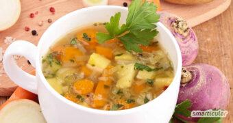 Dieses Steckrübeneintopf-Rezept bereichert deinen regionalen Speiseplan für den Herbst und lässt sich schnell und einfach zubereiten.
