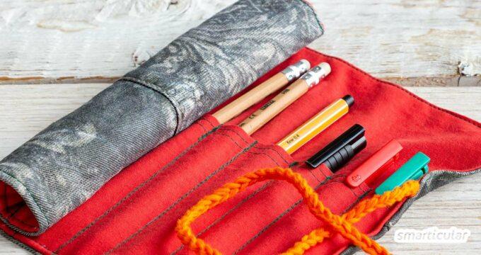 Eine Stifterolle zu nähen, ist nicht so schwer! Das Rollmäppchen eignet sich auch für Handarbeitsnadeln oder Pinsel und lässt sich aus Stoffresten fertigen.